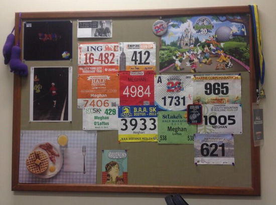 Race bibs, photos of me and Paul, Poster of Breakfast