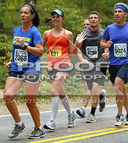 Alone in a sea of half-marathoners. (We had orange bibs; they had green.)