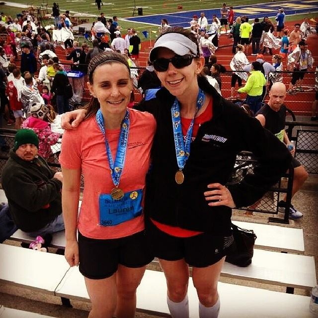 Me and my friend Lauren -- who also ran super-well! -- after the race.
