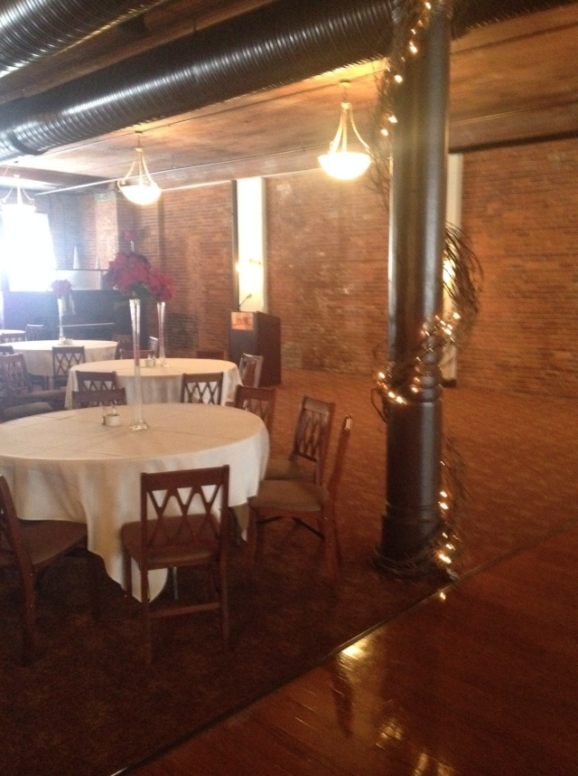Here is the venue. Exposed brick!